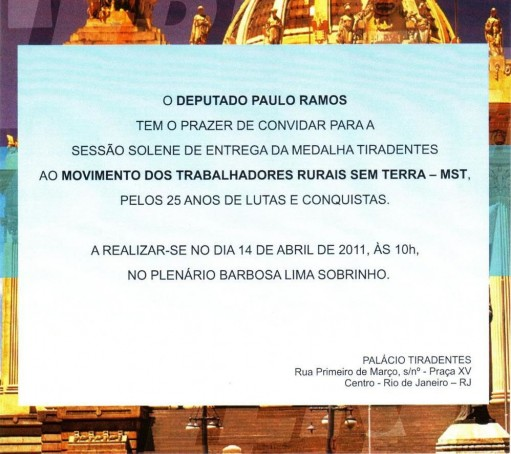Convite Medalha Tiradentes
