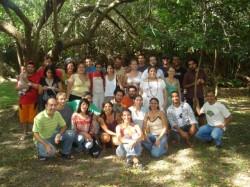 A turma de mestrandos com o prof.  Pinheiro Machado Filho, coordenador do programa, e a Coordenação Pedagógica