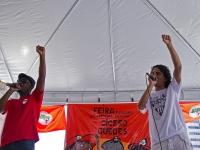 MC Pingo e Mano Teko durante Feira da Reforma Agrária Cícero Guedes, Largo da Carioca, RJ, 09/12/2014